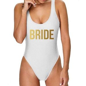 Private Party Bride Swimsuit One-Piece SILVER NWT
